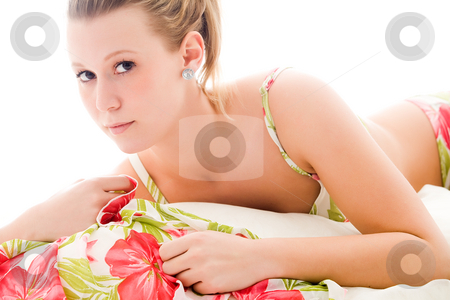 Sexy girl in bikini stock photo, Blond sexy woman in a flower bikini by Frenk and Danielle Kaufmann