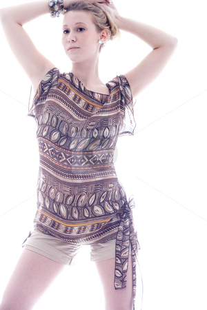 Long fashion woman stock photo, Young blond sexy fashion model on white by Frenk and Danielle Kaufmann