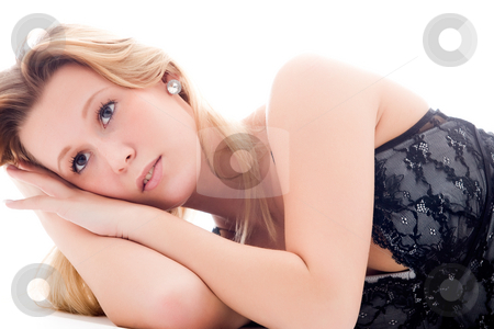 Lingerie dreams stock photo, Sexy blond woman in beautiful sexy lingerie by Frenk and Danielle Kaufmann