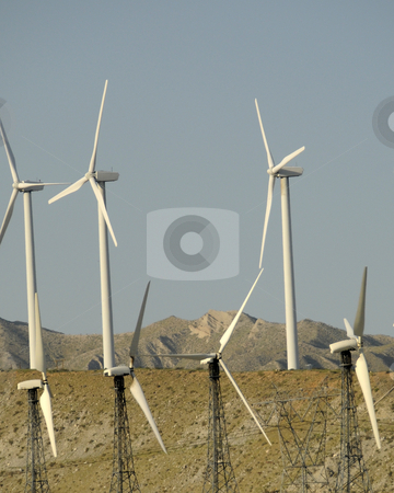 Windmills in the Desert stock photo, Windmills being used to provide energy by Timothy OLeary