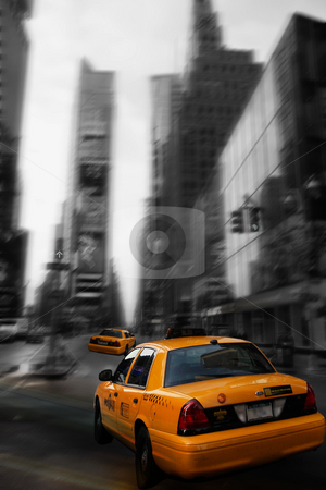 Times Square stock photo, Conceptual view of taxi at Times Square by R Deron