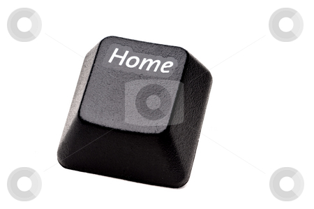 A horizontal closeup of a Home button from a computer keyboard o stock photo, A horizontal closeup of a Home button from a computer keyboard on white by Vince Clements