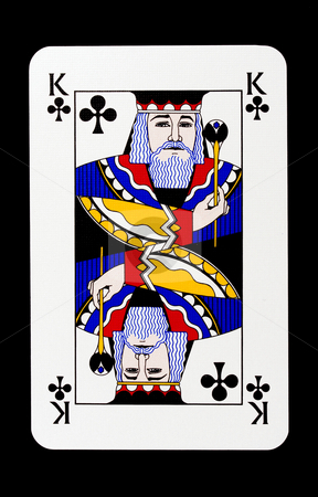King of clubs stock photo, King of clubs isolated on black by Ingvar Bjork