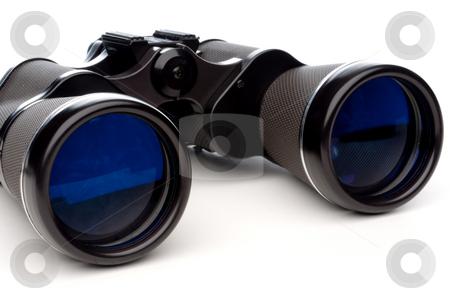 Horizontal close-up of binoculars on a white background stock photo, Horizontal close-up of binoculars on a white background by Vince Clements