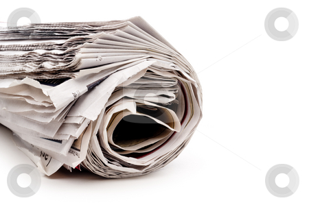 Horizontal view of a rolled up newspaper on white stock photo, Horizontal view of a rolled up newspaper on white by Vince Clements