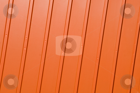 Corrugated orange panel stock photo, Corrugated metal panel painted in vivid orange. by Manuel Ribeiro