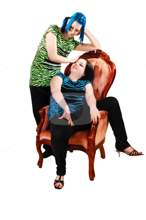 Girlfriends smiling to each other. stock photo, Two girlfriends, one sitting in a pink armchair and her friend standing behind with nice blue hair on white background. by Horst Petzold