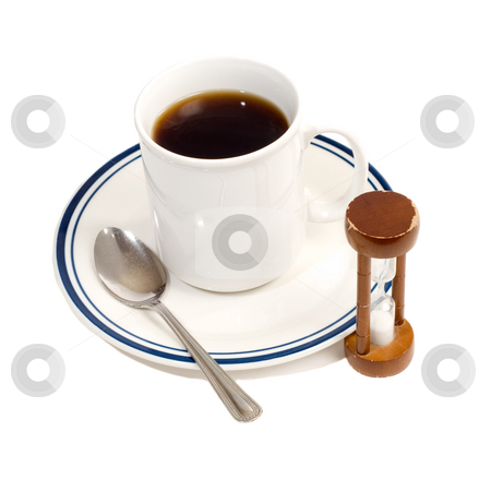 Coffee Break stock photo, A coffee cup, with a spoon and an hourglass, isolated against a white background by Richard Nelson