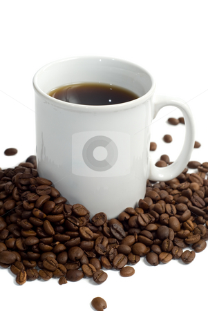 Fresh Coffee stock photo, A fresh cup of coffee with roasted beans, isolated against a white background by Richard Nelson