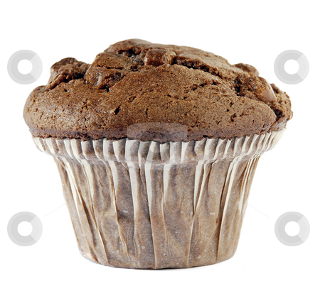 Chocolate muffin stock photo, A chocolate muffin isolated against a white background by Paul Turner
