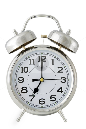 Alarm clock on white stock photo, Old fashioned chrome alarm clock isolated on white - easy cutout by Paul Turner