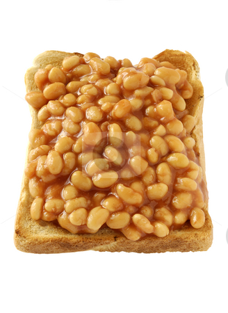 Beans on toast 02 stock photo, Baked beans served on toast by Paul Turner