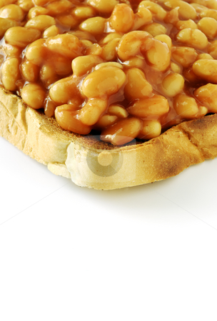 Beans on toast corner stock photo, The snack food baked beans served on toast by Paul Turner