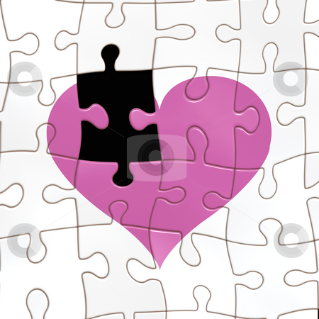 Missing a piece of the heart stock photo, Seamless texture of a jigsaw heart with one fragment missing by Wino Evertz