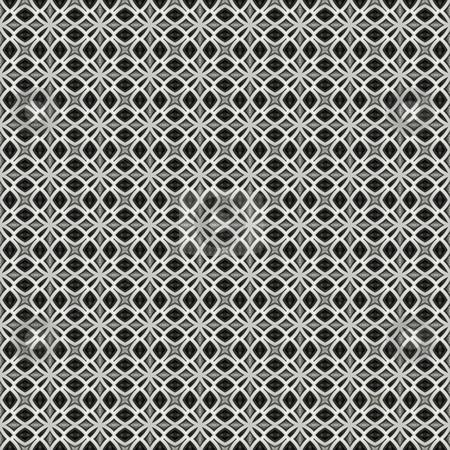 Black and white ornament pattern stock photo, Seamless texture of metallic retro flower shapes on white by Wino Evertz