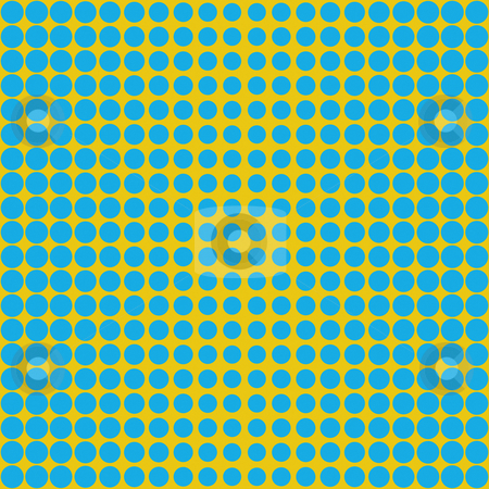 Blue dots pattern stock photo, Seamless texture of blue rounds on yellow giving optical effect by Wino Evertz