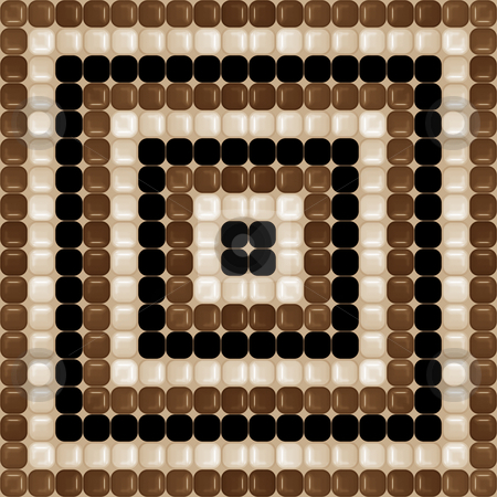 Chocolat brown pattern stock photo, Seamless texture of glossy brown, cream and black rounded squares by Wino Evertz
