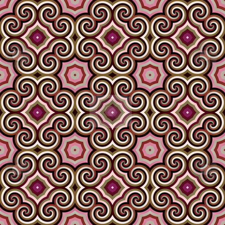 Seamless ornament pattern stock photo, Seamless texture of stars and rounded shapes in old pink colors by Wino Evertz