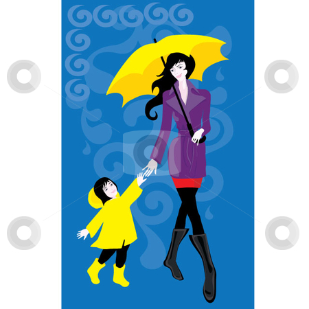 Walking in the Rain stock vector clipart, Mother and child walking in the rain.  Vector eps and jpg by Maggie Bates
