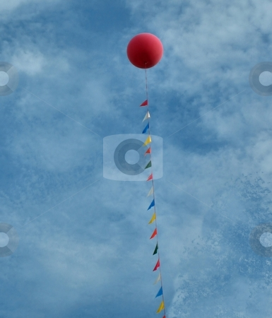 Balloon in the sky stock photo, Balloon in the sky by Albert Lozano