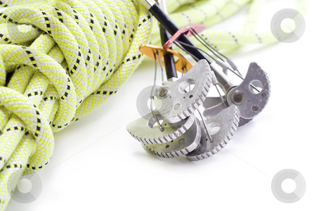 Camming Device and rope stock photo, Camming device and rope for rock climbing by Paulo Resende