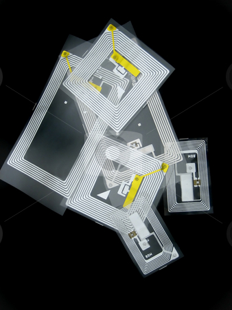 RFID tags stock photo, Tags used for RFID purposes by Albert Lozano
