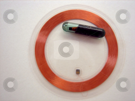 RFID tags stock photo, Tags for radio frequency identification - RFID by Albert Lozano