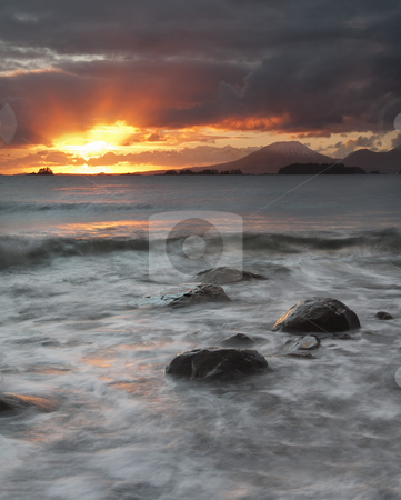 Edgecumbe Light stock photo, Heavenly Rays brust trhought the storm near Mt. Edgecumbe of the coast of Sitka, Alaska by Mike Dawson