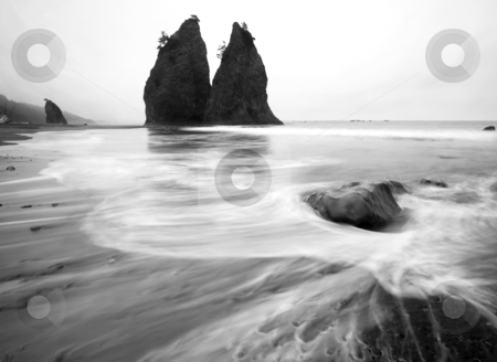 Rialto Flow stock photo, Tides flowing across rocky Rialto Beach along the Washington coast by Mike Dawson