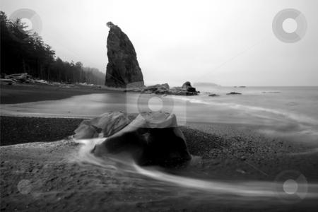 Tidal Detour stock photo, Ebbing Tides wrap around a boulders on Rialto Beach along the Washington coast. by Mike Dawson