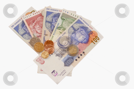 Money on white stock photo, South African Money isolated on a white background by Chris Alleaume