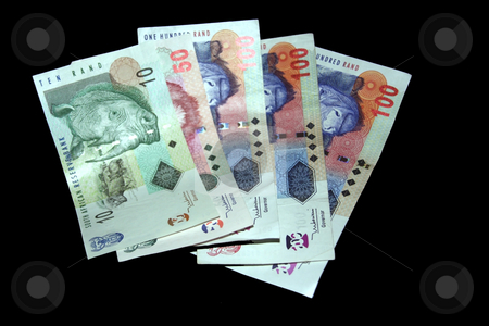 Money on black stock photo, South African Money isolated on a black background by Chris Alleaume