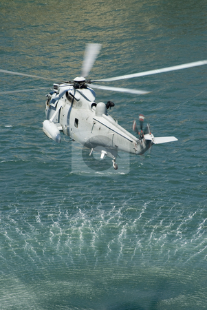 Navy sea king helicopter stock photo, The austrlian navy practicing a rescue operation by Stephen Gibson