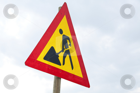Road sign - worker stock photo, Warning road sign showing a worker by Chris Alleaume