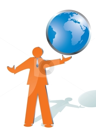 Man and globe stock vector clipart, Business man playing with world globe, vector illustration by Milsi Art