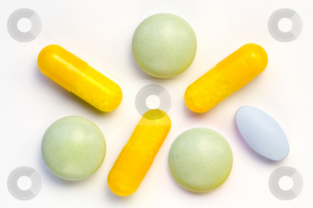 Drugs stock photo, A few various kinds of drugs in different colours by Petr Koudelka