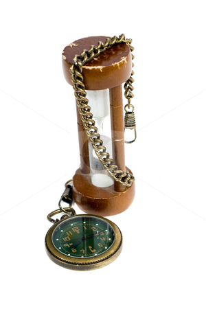 Antique Watch stock photo, An old pocket watch and an hourglass, isolated against a white background by Richard Nelson