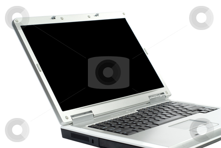 Isolated Notebook Computer stock photo, A notebook computer with a black screen, isolated against a white background by Richard Nelson