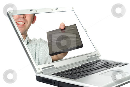 Movie Piracy stock photo, Concept image of online movie piracy, isolated against a white background by Richard Nelson