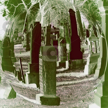 Sphere of Stones (Digital Art) stock photo, Sphere of Stones (Digital Art), Grave stones in a Sphere with Shades and Tints of Green. by Dazz Lee Photography