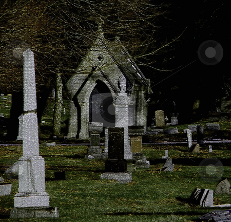 Cemetery Scene Digital Art stock photo, Cemetery Scene (Digital Art) by Dazz Lee Photography