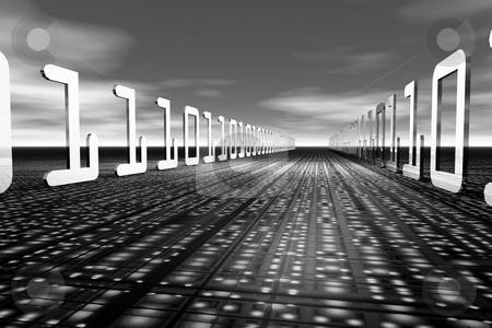 Information Highway3 stock photo, Digital information on 3d landscape by Ira J Lyles Jr
