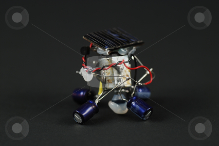 Solar energy robot stock photo, Stock pictures of a robot powered by solar energy by Albert Lozano