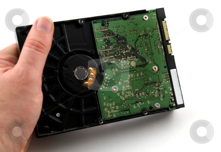 Hard drive case stock photo, Pictures of the case for a hard drive in a computer by Albert Lozano