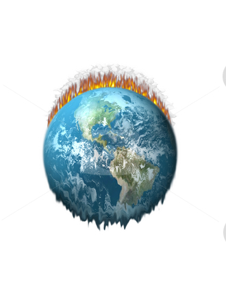Global Warming stock photo, Earth On Fire Melting on a white background by John Teeter