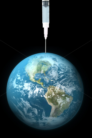 Earth Drug stock photo, Earth being drained with needle by John Teeter
