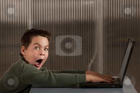 Shocked boy with a laptop computer stock photo, Shocked young boy reacting to info on a laptop computer by Scott Griessel