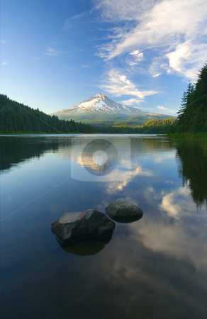 Mt. Hood Cirrus Explosion stock photo, Mt.  Hood reflecting in the still waters of Trillum Lake at sunset by Mike Dawson