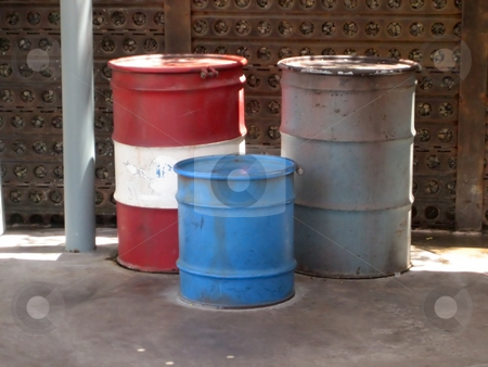 Waste stock photo, Waste barrels by Albert Lozano
