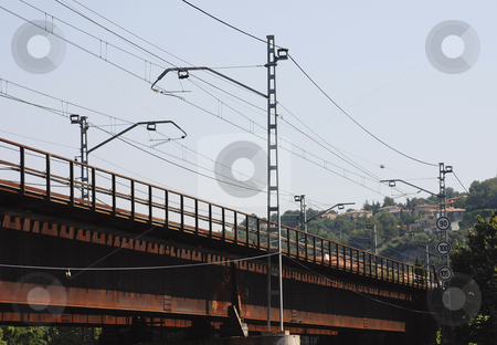 Freight train stock photo, Stock pictures of a freight train and railway by Albert Lozano